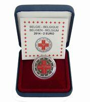 Belgien 2 Euro Münze 150 Jahre Rotes Kreuz 2014 Polierte Platte im Etui in Farbe