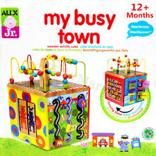 Gift Educational Toy 12m+ Baby 5in1 Wooden Bead Maze Activity Cube #1215