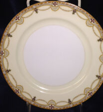 "MEITO CHINA N2007 BREAD & BUTTER PLATE 6 1/2"" SCROLL CROSSES SWAGS TAN EDGE GOLD"