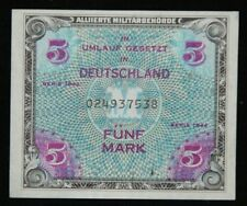GERMANY 5 MARK ALLIED OCCUPATION MILITARY CURRENCY WWII 1944 P 193a Ro 202a