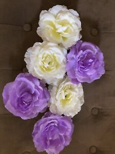 Floating LED Flowers Roses With PVC Bowls Purple & White Yellow