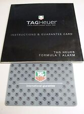 Tag Heuer Formula 1 Alarm Watch Instructions Book & International Guarantee Card