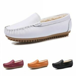 New Ladies Women Moccasin Fur Lined Slip On Loafer Winter Warm Slippers Shoes B