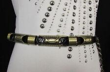 Chic Women Black/Gold Thin Metal Hip Waist Tie Belt Faux Leather Tassel M