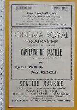programme MAROC RABAT Cinéma Royal film Capitaine de Castille - 1949