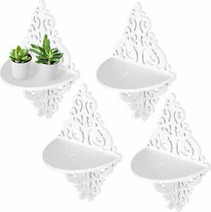 Scrollwork Design Wall Mounted White Display Stand Floating Shelves, Set of 4