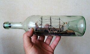 diorama - bateau 3 mats en bouteille 19ème - art populaire