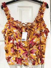 H&M Pretty Orange Floral Lace Up Front Corset Style Top BNWT Size L