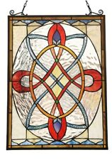 "24.5"" x 17.7"" European Manor Victorian Tiffany-glass Window Panel Katherins Row"