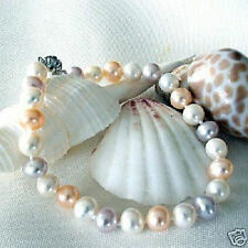 Genuine Tri-Color Freshwater Pearl Sterling  Bracelet