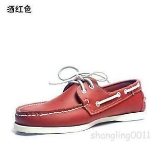 Mens Docksides deck Top-Side Lace Up Casaul Moccasin Leather Slip On Boat Shoes