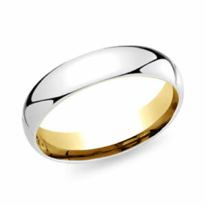 10k solid white, yellow polished Wedding ring 5mm round Simple Band Unique ring