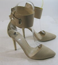 "Womens Nud 4"" Stiletto High Heel Pointy Toe Ankle Strap Sexy Shoes Size 6"