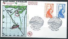 ST PIERRE & MIQUELON 1987 SG579,583 Atlantic Cod Fish Cover FDC SHS CTO USED