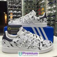 Adidas Stan Smith Bianco Blu Schizzate Borchie Ceramica Bianche [Prodotto Custom
