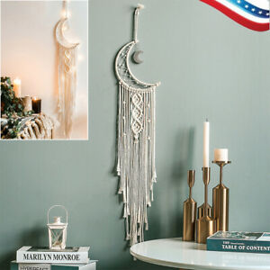Handmade Moon Woven Cotton Dream Catchers Wall Hanging for Home Decor Ornament