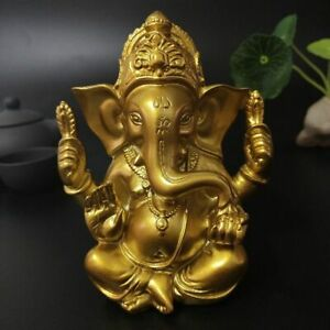 Lord Ganesha Statue Golden India Elephant God Sculpture Home Office Decoration