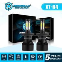 IRONWALLS H4 9003 LED Headlight Bulb 4-Sides 2400W High-Low Beam Car Lamps Xenon