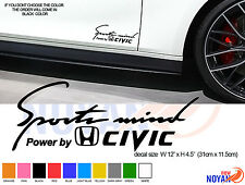 2X POWER BY HONDA CIVIC, SPORTS MIND DECAL, VINYL DIE CUT STICKER