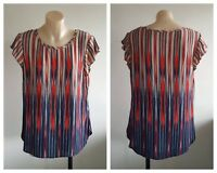 DIANA FERRARI Ladies Multi Colour Print Capped Sleeve Top Size 10