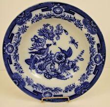 """Ashworth C1862-90 Flow Blue Rimmed Soup Bowl KIJI  10 1/2"""" No Chips,Cracks,Craz"""