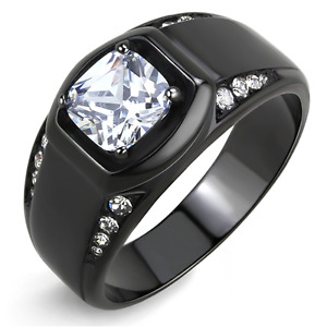 Men's Cushion Square Cut CZ Black Ion Stainless Steel Round Wide Band Ring