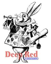 Deep Red Stamps White Rabbit Rubber Cling Stamp