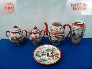 Antiguo juego de te en porcelana Japon Satsuma, periodo Taisho (1913-26)