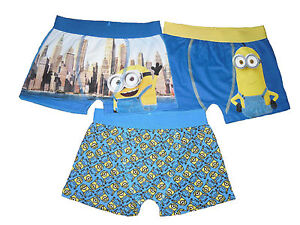 Boys Boxer Shorts Minions 4 5 6 7 8 9 10 11 12 13 & 14 Years Old