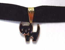 CUTE BLACK KITTY CAT WITH BOW TIE CHOKER velvet necklace kawaii kitten nyanko O4