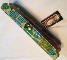 Vtg 70s Vinyl 7 1/2� Sq Tube Sewing Kit Travel Green Teal Flower Power Mod Retro
