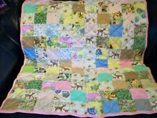 "Handmade Baby Girl Crib Quilt, Animals, Birds, Flowers +40"" x 46"""