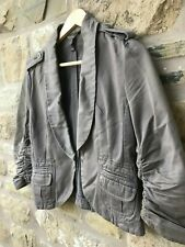 Ladies MORG Fitted Jacket Coat Short 3/4 Length Ruched Sleeve Womens Size Large