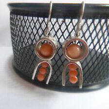 Coral Sterling Dangle French Wires Pierced Earrings by designer Patty Nulph Fai