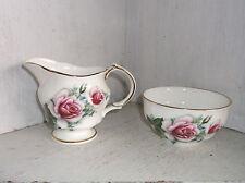 Arklow Pink Roses Irish Bone China Creamer & Open Sugar Bowl Ireland