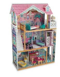 KidKraft Annabelle Large Wooden Play Dollhouse w/ 17 Furniture Accessories, Pink