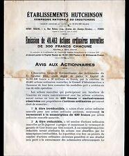 """PARIS (VIII°) PNEUS VELO MOTO AUTOMOBILE """"HUTCHINSON"""" en 1924 Emission d'ACTIONS"""