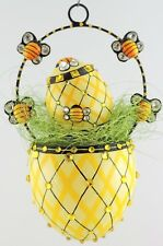 Patricia Breen Spring Egg Basket + Mini Egg Sculpture Bees set/2