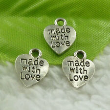 12x10mm Free Ship 280 pcs tibet silver made with love heart charms B4732