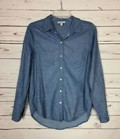 Lucky Brand Women's Sz S Small Blue Striped Long Sleeve Button Spring Top Blouse