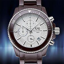 NEW Ulysse Girard 14004 Men's Savard Watch Chronograph Date White Dial 62623377