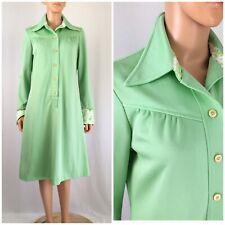 Vintage 1960s 70s Mint Green MOD Day Dress Step In Shirt Dress Shirred 16 XL