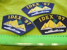 "Lot of 3  IDEX 1997,Abu Dhabi,Internat. Defense Exhibit..""Baseball Cap"" Patches"