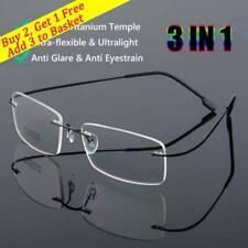 1PC Flexible Ultralight Rimless Memory Titanium Magnetic Reading Glasses UK