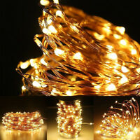 100/200LED Micro Copper Wire Fairy String Lights Xmas Party White/RGB 4Type Plug