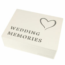 Wooden HEART Wedding Day Memories Keepsake Storage Memory Photo Box Chest Gift