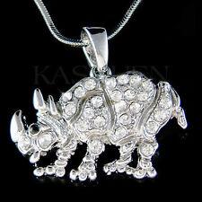 w Swarovski Crystal ~Rhinoceros Rhino Zoo Animal Wildlife Jewelry Chain Necklace