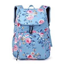 3pcs Ladies Girls Oilclot Flower Backpack Travel Rucksack Laptop School A4 Bag Blue