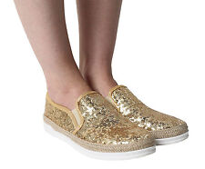 Women's Ladies Glitter Flats Slip On Trainers Espadrilles Sneakers Pumps Shoes