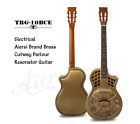 Aiersi Vintage Brass Finish Cutaway Electric Parlor Resonator Guitar